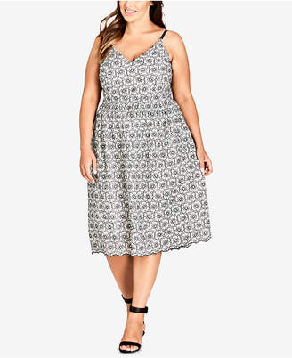 City Chic Trendy Plus Size Cotton Fit & Flare Midi Dress