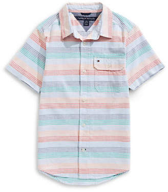 Tommy Hilfiger Baby Boy's Tyler Striped Cotton Collared Shirt