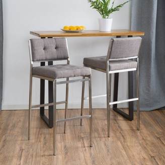 Noble House Doski Light Grey Fabric Barstools (Set of 2)