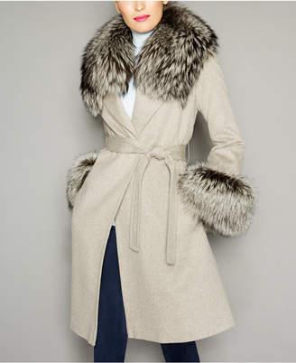 The Fur Vault Fox-Fur-Trim Wool Coat