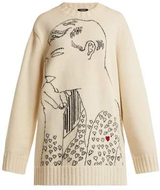 Calvin Klein Andy Warhol Print Wool Intarsia Sweatshirt - Womens - Ivory Multi