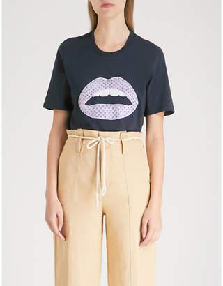 Markus Lupfer Alex sequinned Lara lip cotton-jersey T-shirt