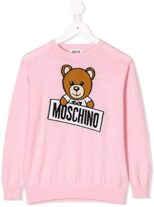 Moschino Kids Teddy logo intarsia knitted jumper