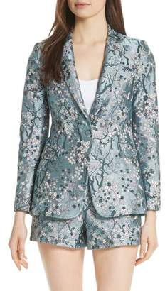 Alice + Olivia Macey Fitted Floral Jacquard Blazer