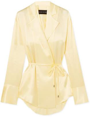 14a0aac6c05bd4 Michael Lo Sordo Open-back Silk-satin Wrap Blouse - Pastel yellow