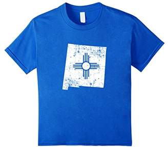 Distressed White New Mexico Flag Map Outline T-shirt