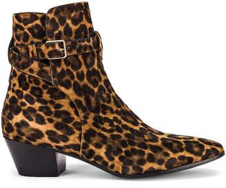 Saint Laurent West Buckle Leopard Boots in Natural   FWRD