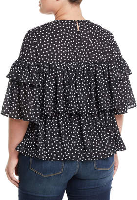 P. Luca Polka-Dot Tiered-Ruffle Blouse