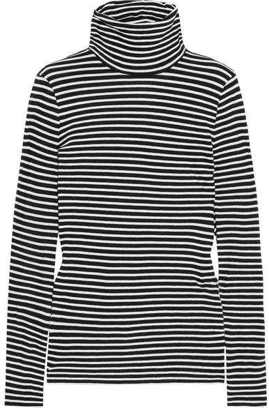 J.Crew - Tissue Striped Cotton-jersey Turtleneck Top - Black