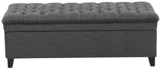 Noble House Jackson Grey Fabric Storage Ottoman
