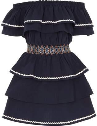 River Island Girls Navy shirred waist frill bardot dress