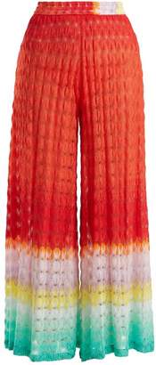 Missoni Mare - Wide Leg High Rise Knit Trousers - Womens - Red Multi