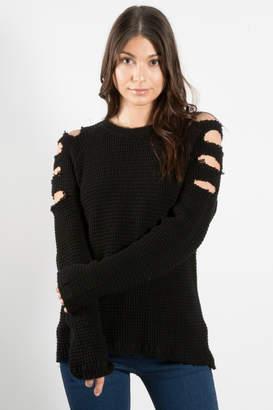 Elan International Cold Shoulder Slit Sweater