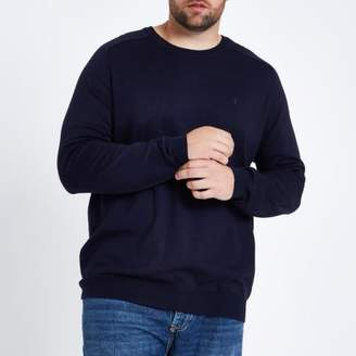 River Island Big and Tall navy crew neck jumper