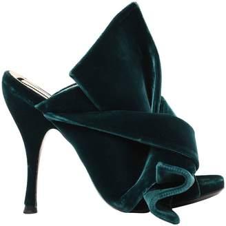 N°21 110mm Bow Velvet Mule Sandals
