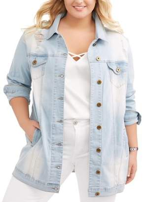 Dh by Dollhouse DH by Dollhouse Juniors' Plus Oversized Long Distressed Denim Jacket