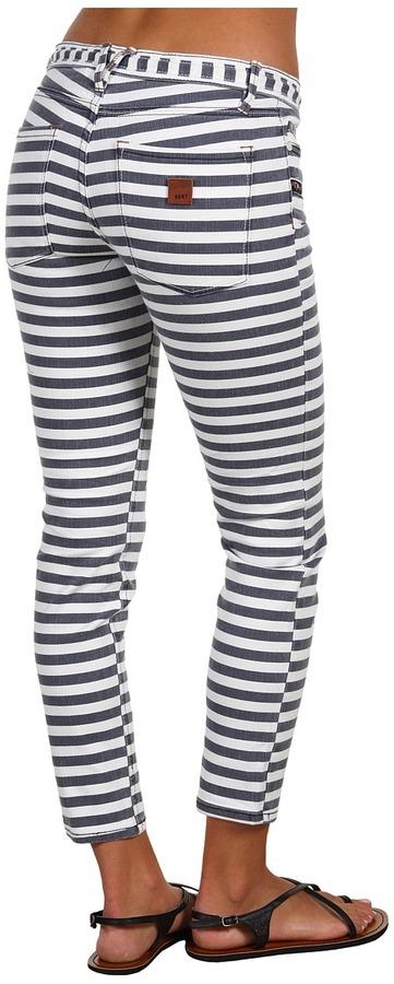 Roxy Gliders Cropped Skinny Jean (Blue Black Stripe) - Apparel