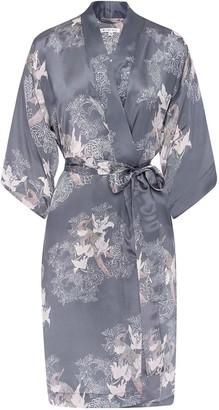 Genevie Sweet Peas Silk Kimono Robe