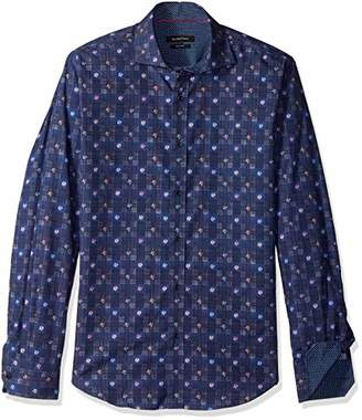 Bugatchi Men's Long Sleeve Fitted Spread Collar Button Down Shirt