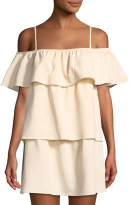 Black Halo Santos Cold-Shoulder Tiered Mini Dress
