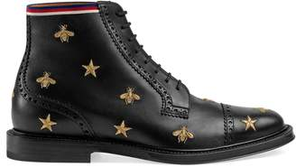 Gucci Leather embroidered brogue boot