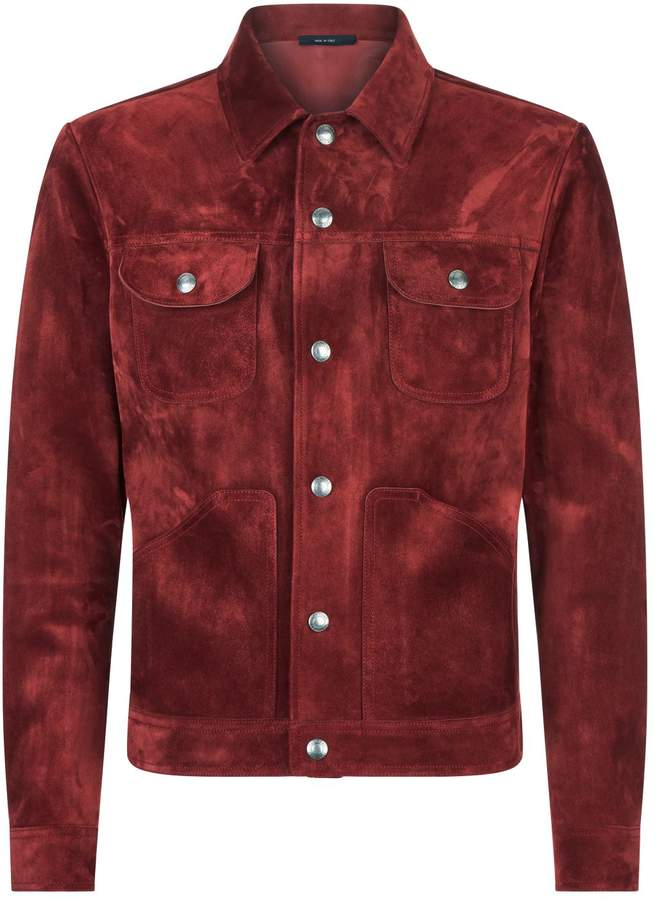 TOM FORD Suede Trucker Jacket, Red, EU 52