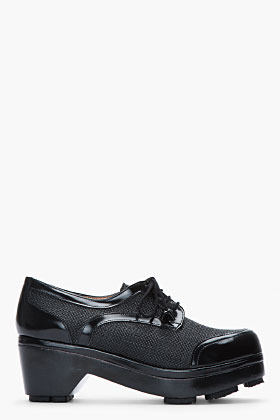 Carven Black Woven Leather-Trimmed Panema Heeled Derbys
