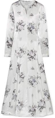 Ganni Cameron Floral-print Satin Midi Dress - Light gray