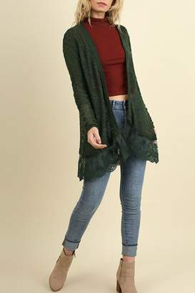 Umgee USA Lace Long Line Cardigan