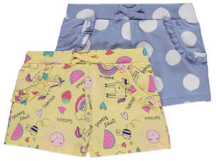George Assorted Yellow and Blue Shorts 2 Pack