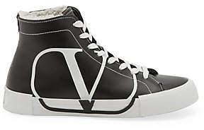 Valentino Garavani Women's Leather Shearling High-Top Sneakers