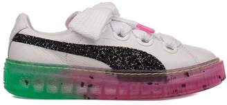 Puma White/pink Platform Candt Princess Leather Sneakers