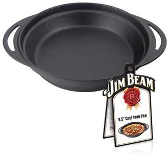 Cast Iron Pan, Jim Beam Heavy Duty Construction Grilling and Barbecue 9.5'' Cast Iron Round Pan, Pre Seasoned Pan
