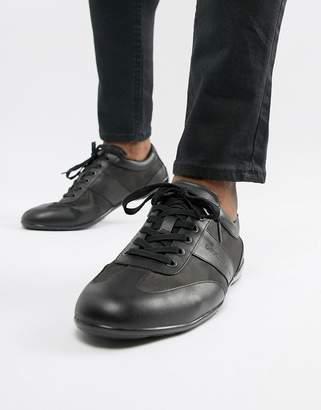 Emporio Armani city leather & nylon mesh sneakers in black