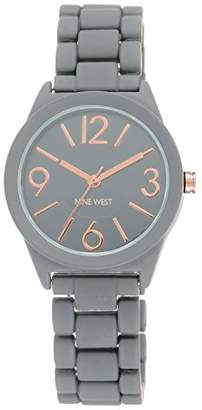 Nine West Women's NW/1812GYRG Matte Grey Rubberized Bracelet Watch