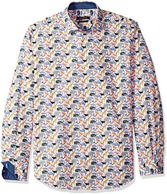 Bugatchi Men's Shaped Fit Safari Motif Printed Cotton Sport Shirt