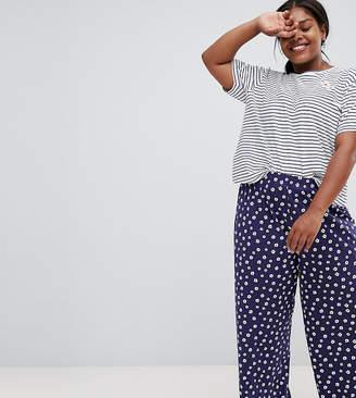 Asos DESIGN Curve stripe tee and floral wide leg pyjama set