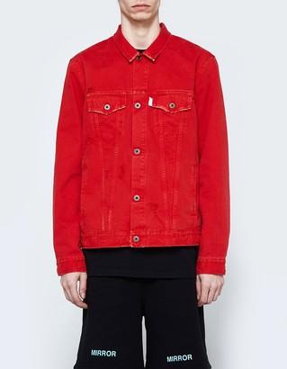 Denim Jacket Red White $776 thestylecure.com