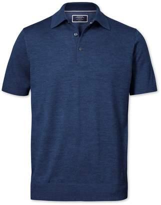 Charles Tyrwhitt Mid Blue Merino Wool Polo Collar Short Sleeve Sweater Size Medium