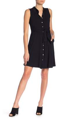 Angie Tie Waist Knit Shirt Dress