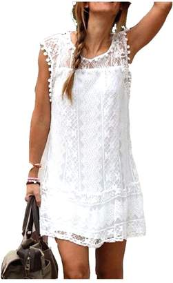 Molif Summer Dress Sexy Women Tunic Sleeveless Beach Short Dress Tassel Solid
