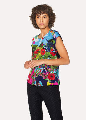 Paul Smith Women's Black Sleeveless T-Shirt With 'Painted Garden' Print