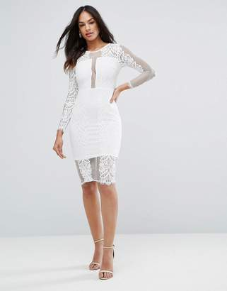 AX Paris Cream Long Sleeve Lace Midi Dress