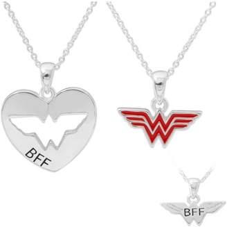 "DC Comics Wonder Women Silver-Plated BFF Pendants Set, 18"" chain"