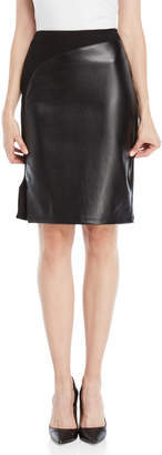Essentials By Sioni Half & Half Faux Leather Skirt