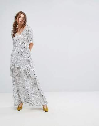 Lily & Lionel Tiered Maxi Dress in Celestial Print