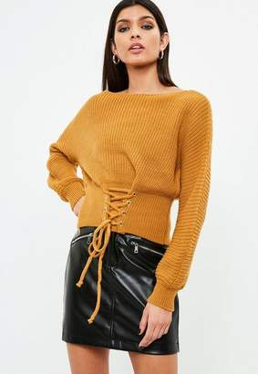 Missguided Orange Lace Up Sweater