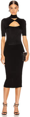 Cushnie Short Sleeve Mock Neck Pencil Dress in Black | FWRD
