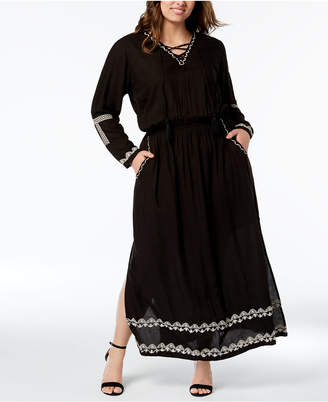 NY Collection Plus Size Maxi Peasant Dress