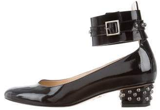 Charlotte Olympia Studded Patent Leather Sandals